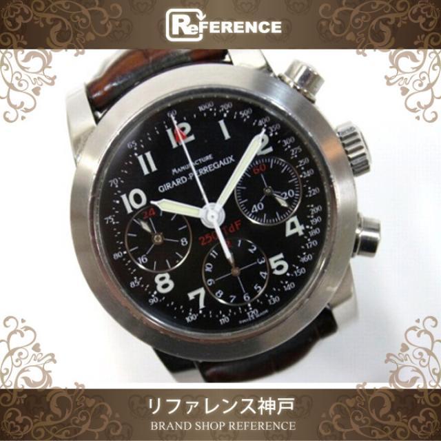 Girard-Perregaux ジラールペルゴ フェラーリ250TdF 世界2000本限定 クロノグラフ オートマチック メンズ腕時計 SS/黒文字盤/クロコベルト 8090 中古