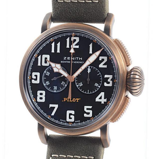 ゼニス ZENITH パイロットタイプ20 29.2430.4069/21.C800メンズ腕時計 ブロンズ 中古 A品