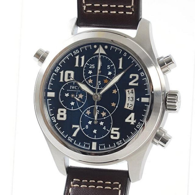 アイダブリュシー IWC パイロットウォッチ ダブルクロノグラフ プティ・プランス IW371807メンズ腕時計 ステンレス 中古 A品