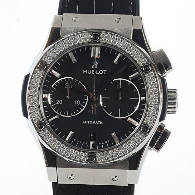 ウブロ HUBLOT クラシックフュージョン チタニウム クロノグラフ ダイヤモンド 521.NX.1171.LR.1104メンズ腕時計 チタニウム 中古 A品