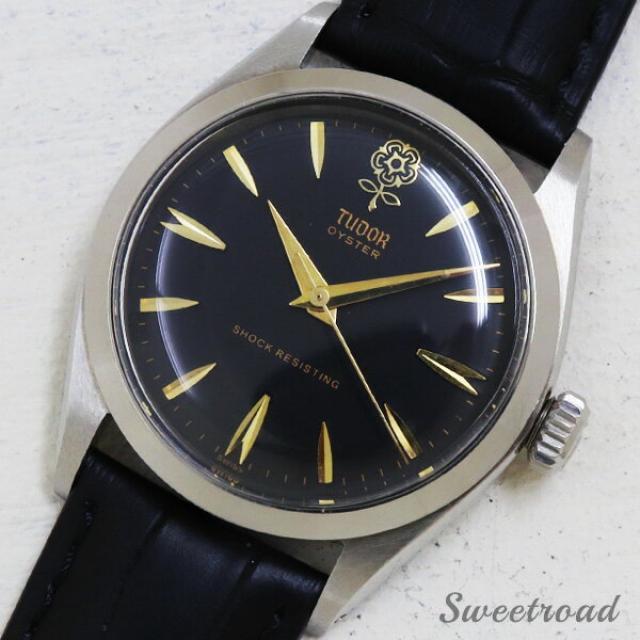 TUDOR/チュードル OYSTER/オイスター Ref.7934 デカバラ ブラックダイヤル 17石/手巻き 1960年製 w-18056