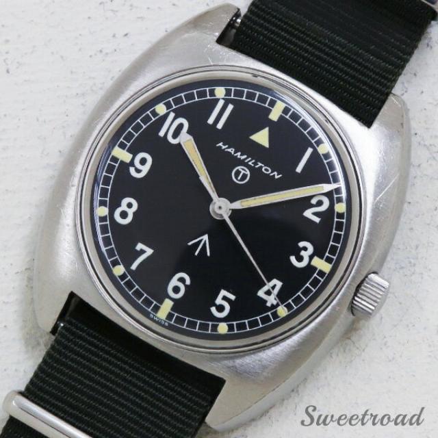 HAMILTON/ハミルトン ミリタリーウォッチ/軍用時計 ブロードアロー オリジナルブラックダイヤル/2ピースケース 手巻き 1970年代 w-18424