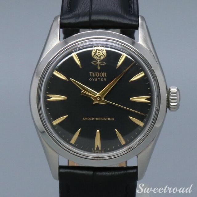 TUDOR/チューダー/チュードル OYSTER/オイスター デカバラ/Big Rose Ref.7934 ブラックダイヤル/ゴールドインデックス 17石/手巻き 1950年代 w-19924