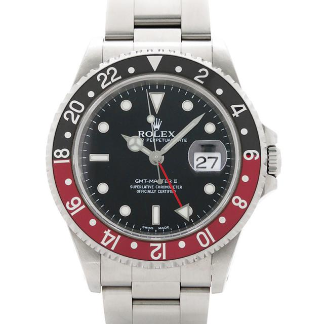 ROLEX ロレックス GMTマスター2 赤×黒ベゼル 16710 A番'99年頃製 メンズ 自動巻き 12ヶ月保証 中古 b01w/h12BC