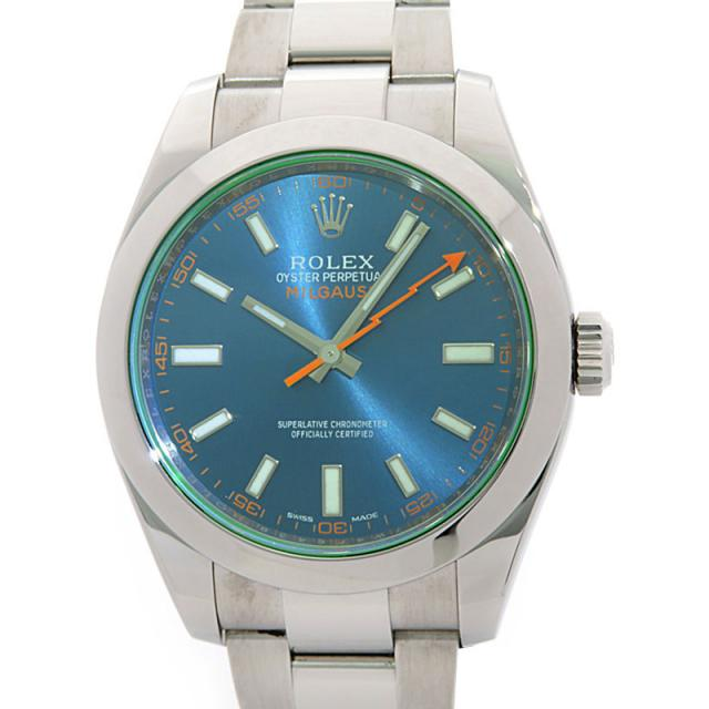 ROLEX '14年購入 ロレックス ミルガウス グリーンガラス 116400GV ランダム番 メンズ 自動巻き 12ヶ月保証 中古 b02w/h19A