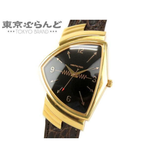 ハミルトン HAMILTON ベンチュラ 40周年記念 時計 腕時計 クォーツ ゴールド 黒文字盤 6252 限定 300本 送料無料 中古 101328424