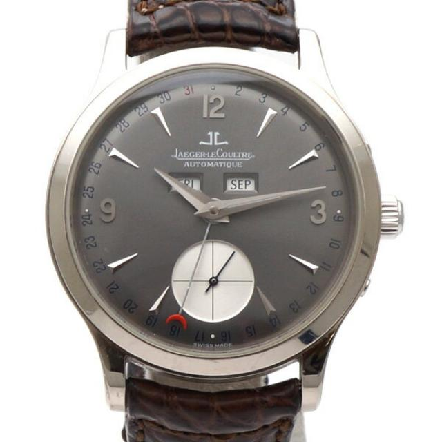 JAEGER LE COULTRE ジャガー・ルクルト マスターデイト Q147347A メンズ腕時計 K18WG AT 文字盤グレー ベルト革/ブラウン 中古B/標準 20180807MS 東発 20144823
