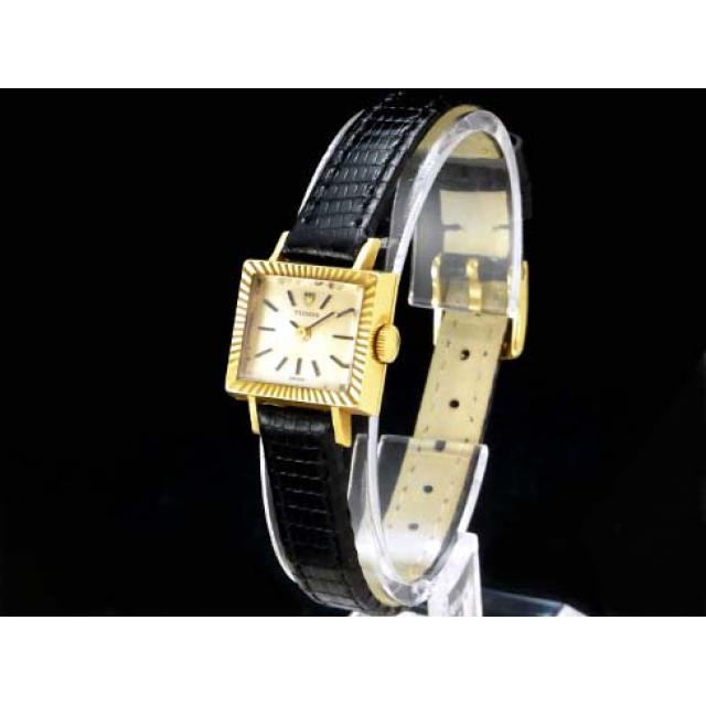 チュードル – TUDOR – スクエア アンティーク 希少・カメレオン型 手巻き 18KYG無垢/革 レディース 腕時計 中古 USED