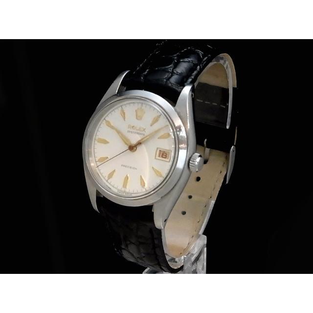 ロレックス – ROLEX – オイスターデイト 6494 希少・赤黒デイト 飛びアラビアン 楔形インデックス SS/革 手巻き メンズ 腕時計 Luxury Brand Selection 中古 USED