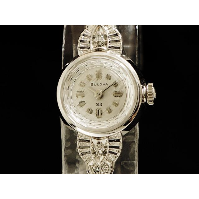 ブローバ – BULOVA – アンティーク ラウンド カットガラス 6Pダイヤモンド 14KWG/SS 手巻 レディース 腕時計 中古 USED
