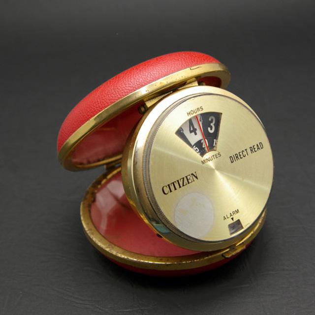 シチズン ダイレクトリード レッドコンパクト型ケース トラベルウオッチ