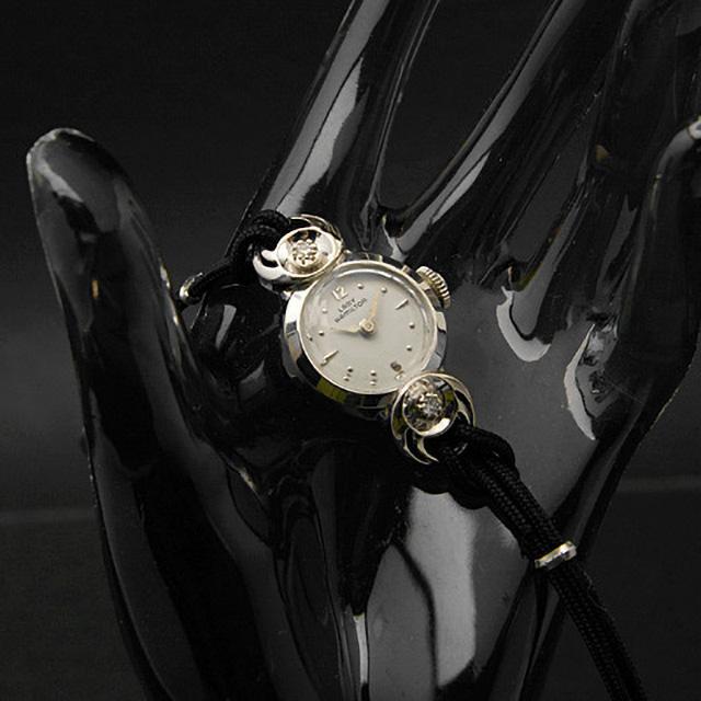ハミルトン レディーハミルトン ラウンドシェイプ 14KWGケース ダイヤ装飾 レディースアンティークウオッチ