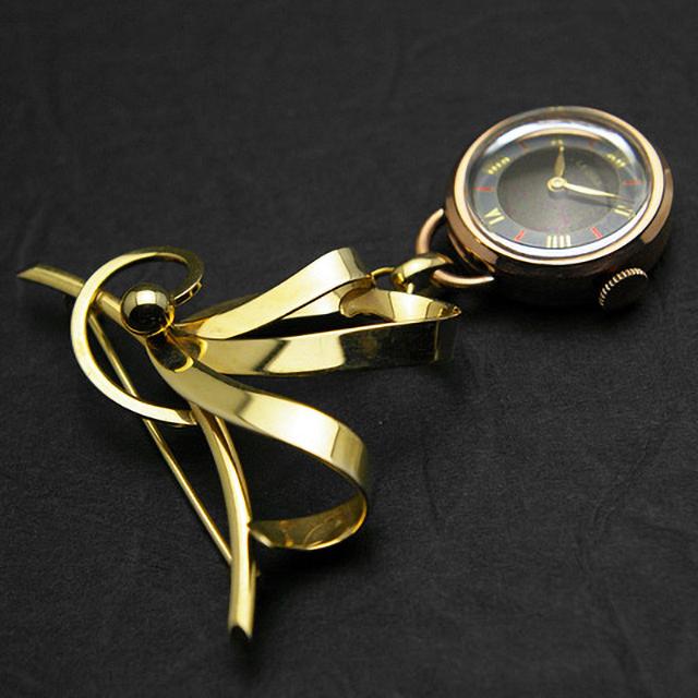 レオラ ブローチウオッチ 10Kピンクゴールド 飛びローマ数字インデックス ツートーン文字盤 美品
