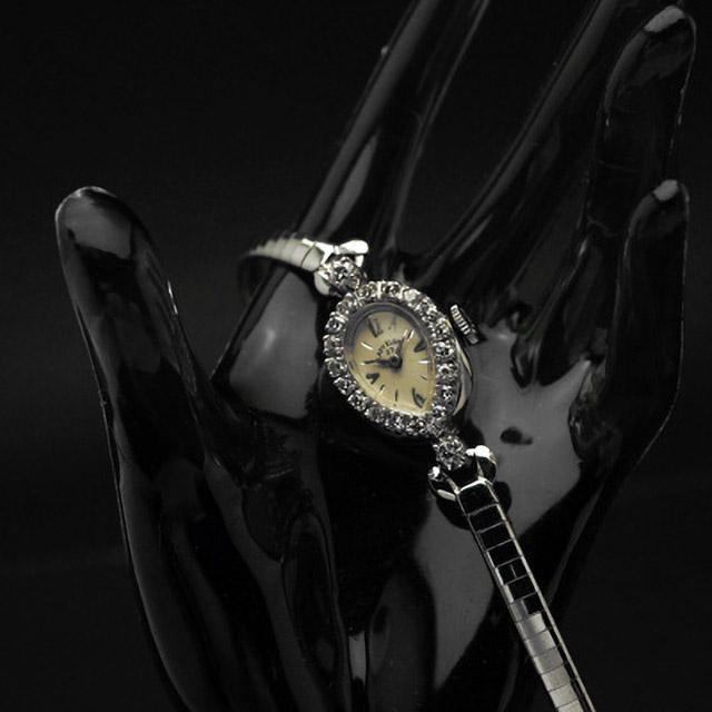 エルジン レディエルジン ダイヤ装飾 14KWG ティアドロップ アンティーク 手巻き レディースウオッチ