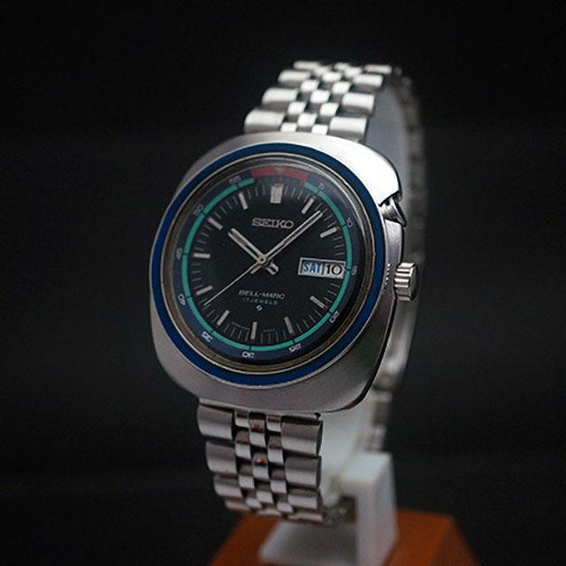 セイコー ベルマチック ブラックダイアル アラーム腕時計 アンティークウオッチ