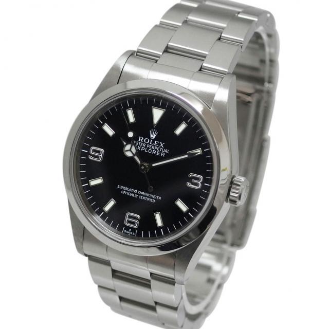 ROLEX ロレックス エクスプローラー1 Ref. 14270 U番 1997年製 オートマチック/自動巻き ブラック/黒文字盤 安心の1年間保証 メンズ □ 腕時計 中古//1点物 80 外装新品仕上げ済み・OH済み