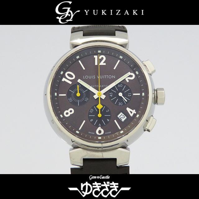 ルイ・ヴィトン LOUIS VUITTON タンブール クロノ Q1121 ブラウン文字盤 メンズ 腕時計 中古