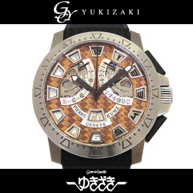 ピエール・クンツ PIERRE KUNZ スポーツクロノグラフ G403 ブラウン/シルバー文字盤 メンズ 腕時計 中古
