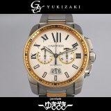 カルティエ CARTIER カリブル ドゥ カルティエ クロノグラフ W7100042 シルバー文字盤 メンズ 腕時計 中古