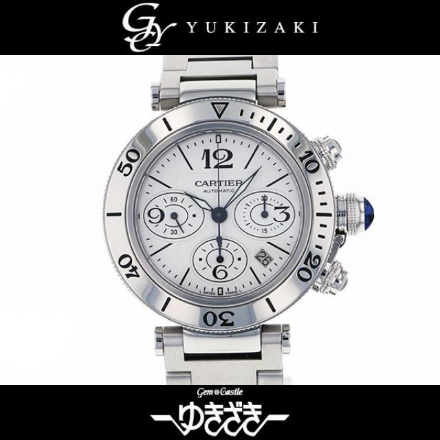 カルティエ CARTIER パシャ シータイマー クロノグラフ W31089M7 シルバー文字盤 メンズ 腕時計 中古