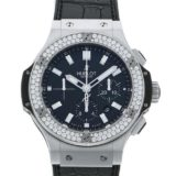 ウブロ HUBLOT ビッグバン スチール ベゼルダイヤ 301.SX.1170.GR.1104 ブラック文字盤 メンズ 腕時計 中古